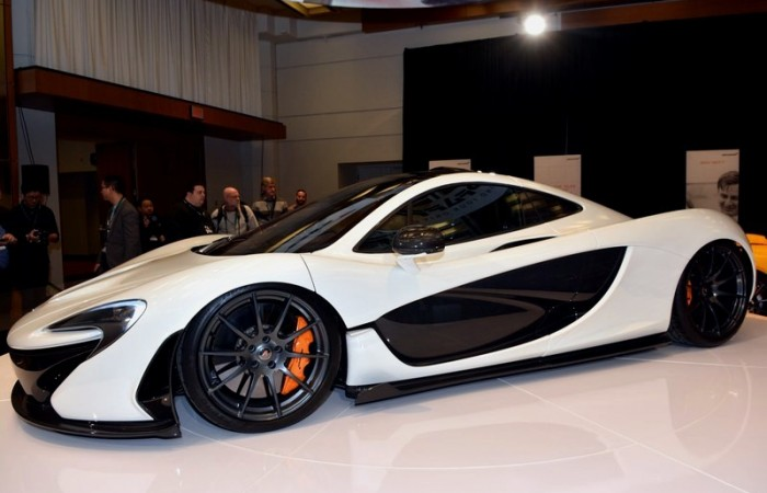 The new McLaren, presented to the crowd by Pfaff McLaren salesman and former Canadian Olympic ski jumper Hosrt Bulau