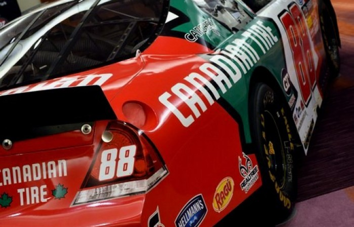 The #88 Canadian Tire car from behind